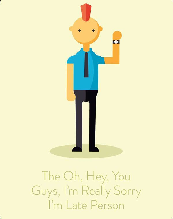 annoying call Illustration funny the oh hey i am sorry i am late guy