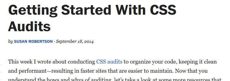 Getting started with CSS audits by Susan Robertson