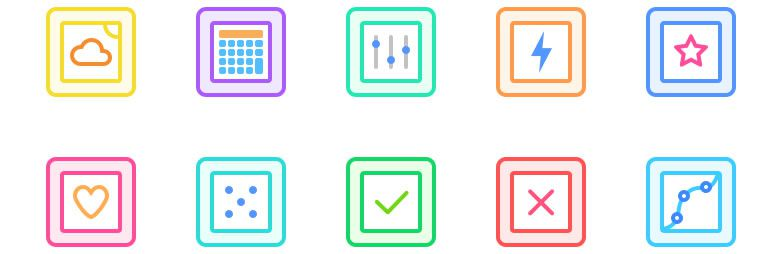 Freebie: Gallericons - 30 rounded and colourful icons