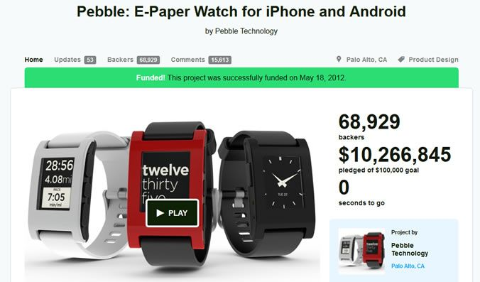 Pebble is an e-paper smartwatch