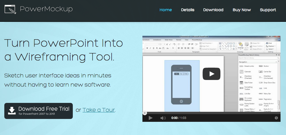 Power Mockup allows you to prototype directly in your Power Point