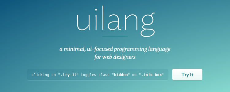 uilang, a minimal, ui-focused programming language for web designers