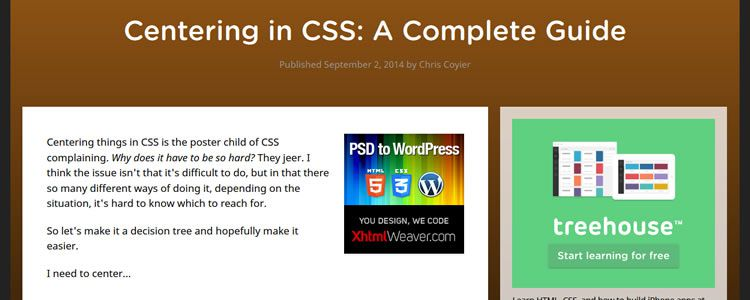 Centering in CSS: A Complete Guide by Chris Coyier