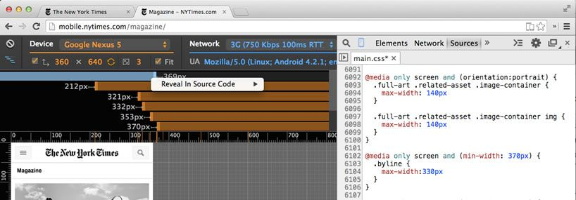 Responsive web design with DevTools' Device Mode