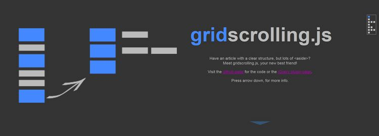 gridscrolling.js, a jQuery plugin A layout for positioning sections and asides in a grid & allowing for easy cursor key navigation