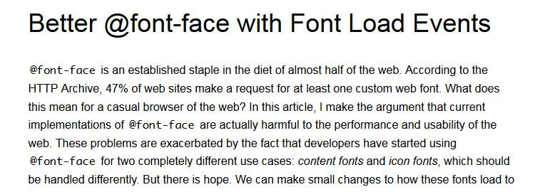 Better @font-face with Font Load Events by Zach Leatherman