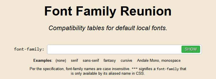Font Family Reunion, a useful tool for checking the compatibility of local fonts