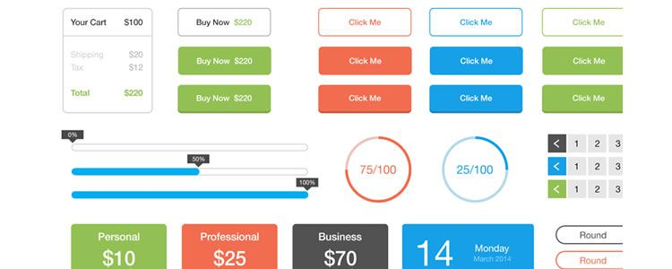 30 free flat ui kits and templates