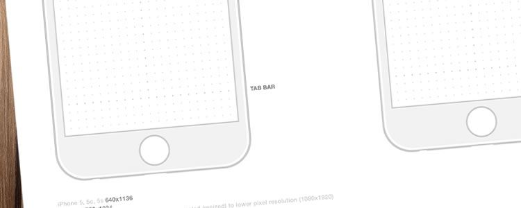 iPhone 6 Wireframe Templates PSD & PDF