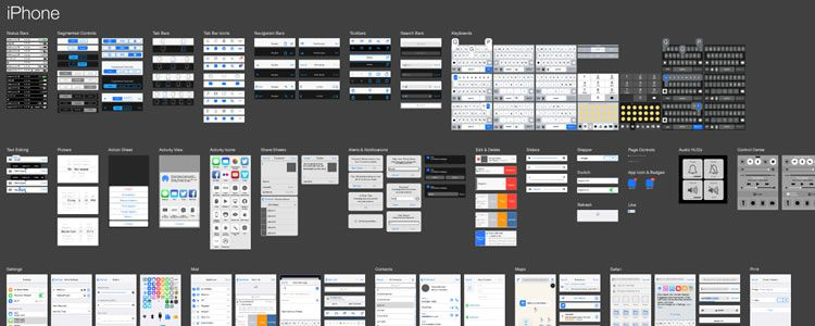 iOS 8 Vector UI Kit AI