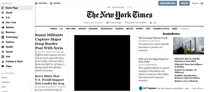 New York Times Slideouts, Sidebars & Drawers