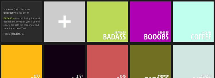 BADA55.io app for finding the most badass leet words for your CSS hex colors