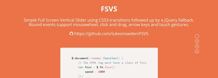 FSVS, a simple fullscreen vertical slider using CSS3 transitions with jQuery fallback