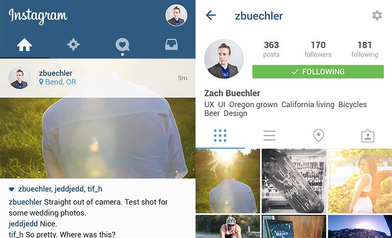 Instagram in Material Design Templates by Zach Buechler