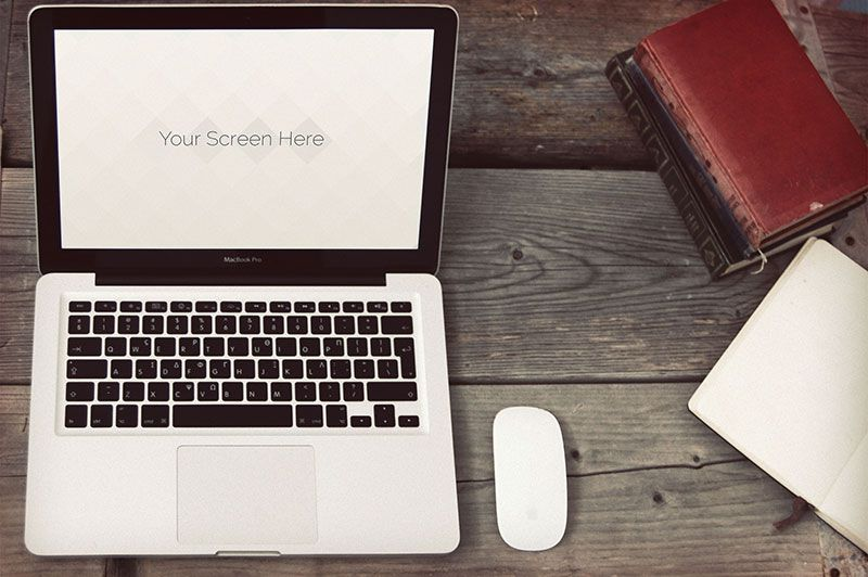 Vintage Photorealistic Macbook Oxygenna free template PSD