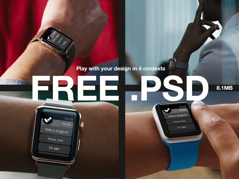 Apple Watch Mockups Piotr Szwach free template PSD