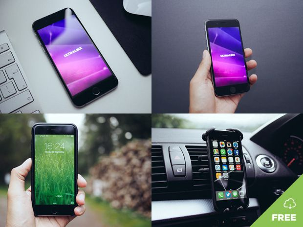 Natural iPhone Mockups free template PSD
