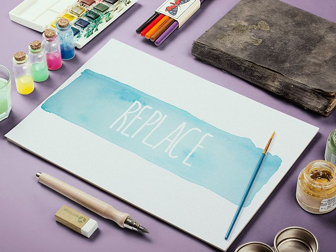 Watercolor Sketch Mockup Mucahit Gayiran free template PSD
