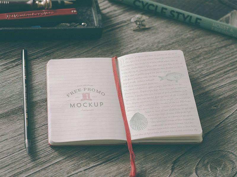 Hip Notebook Mockup Vadim Sherbakov free template PSD