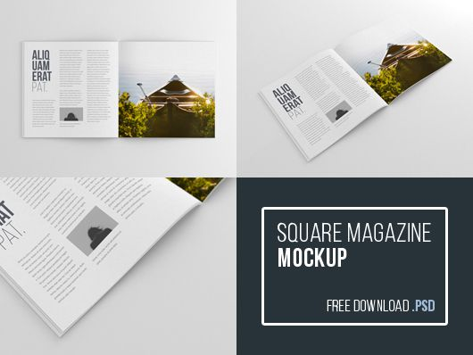 Square Magazine Mockup BluGraphic free template PSD