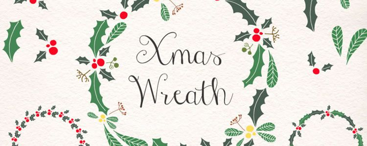 Christmas Wreath & Holly Vector