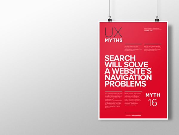 Myth 16: Search will solve a website's navigation problems