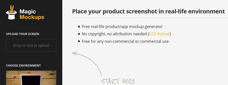 Magic Mockups, a web-based tool for generating real-life mockups