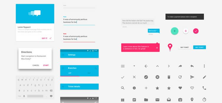 Free Material Design GUI Templates & Icon Sets