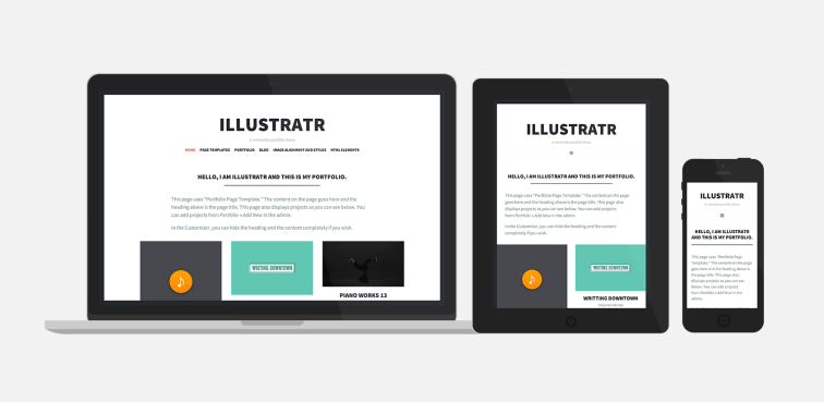 Illustratr wordpress free super minimalist portfolio theme