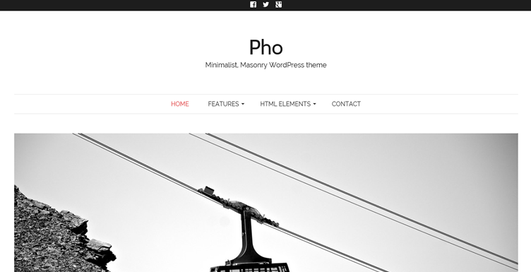 Pho wordpress free minimalist gallery masonry theme designers photographers