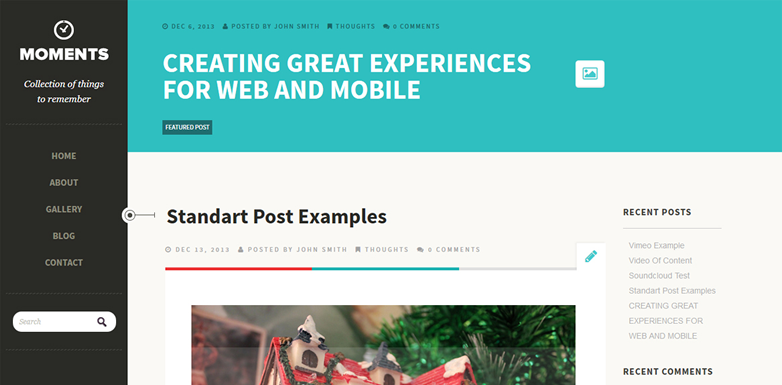 Moments free wordpress clean blogging theme with bold typography
