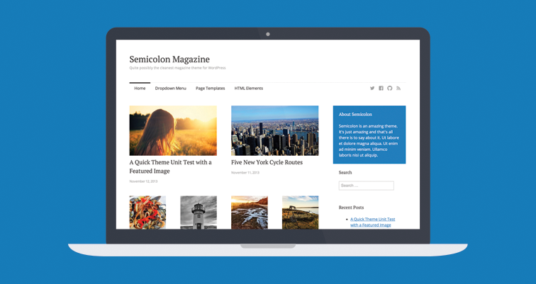 Semicolon free simple clean magazine theme WordPress