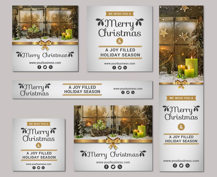 A Huge Christmas & New Year Vector Banner Kit