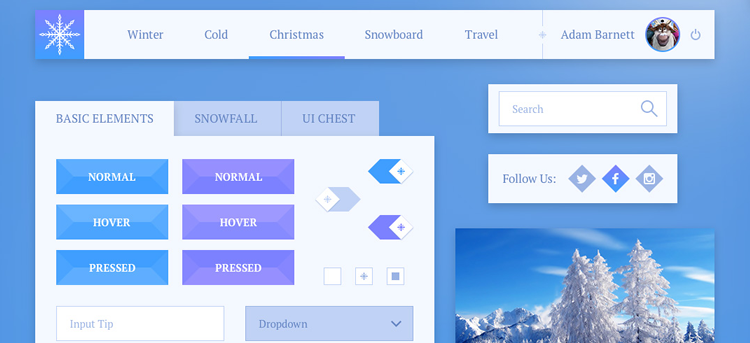 Freebie: Snowflake UI Kit