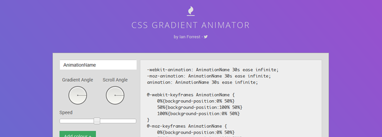 CSS Gradient Animator web-based tool generating animated gradients