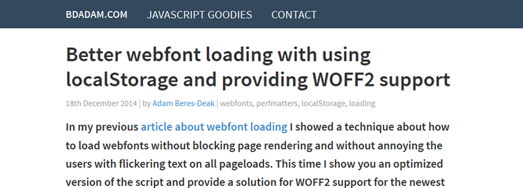 Better Webfont Loading Using localStorage and Providing WOFF2 Support