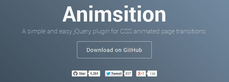Animsition, a simple and easy jQuery plugin for CSS animated page transitions