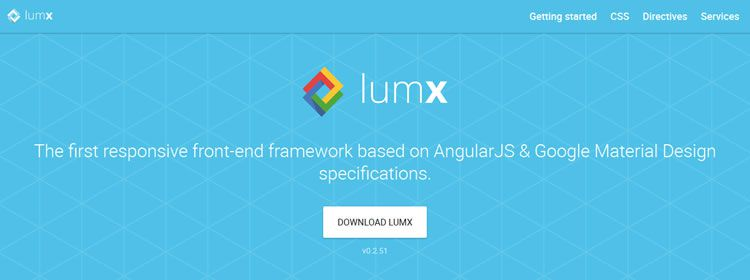 LumX, the first responsive front-end framework based on AngularJS & Material Design specs