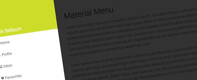 Material Design off-canvas menu concept by by Call Me Nick