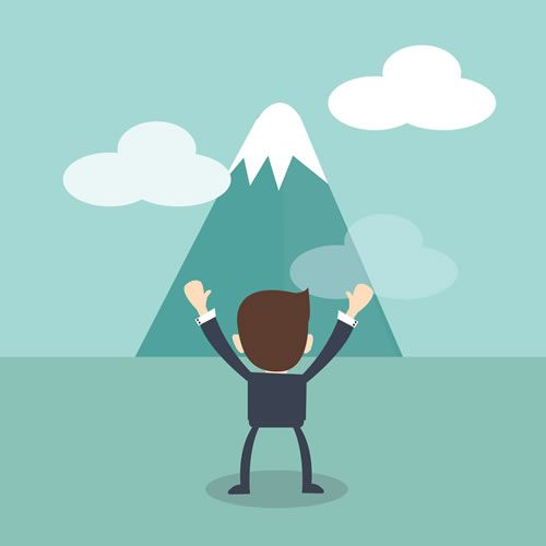 challenges concept - Businessman cheering and looking rocky mountain with challenges