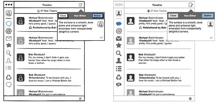 The sketch and the wireframe from Balsamiq
