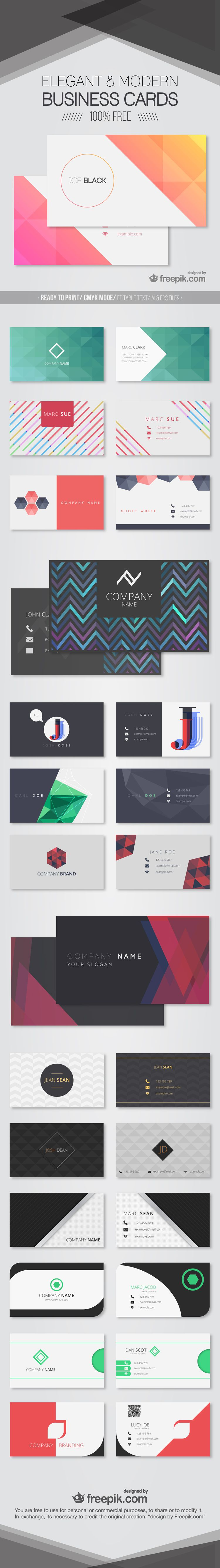 30 free modern business card templates