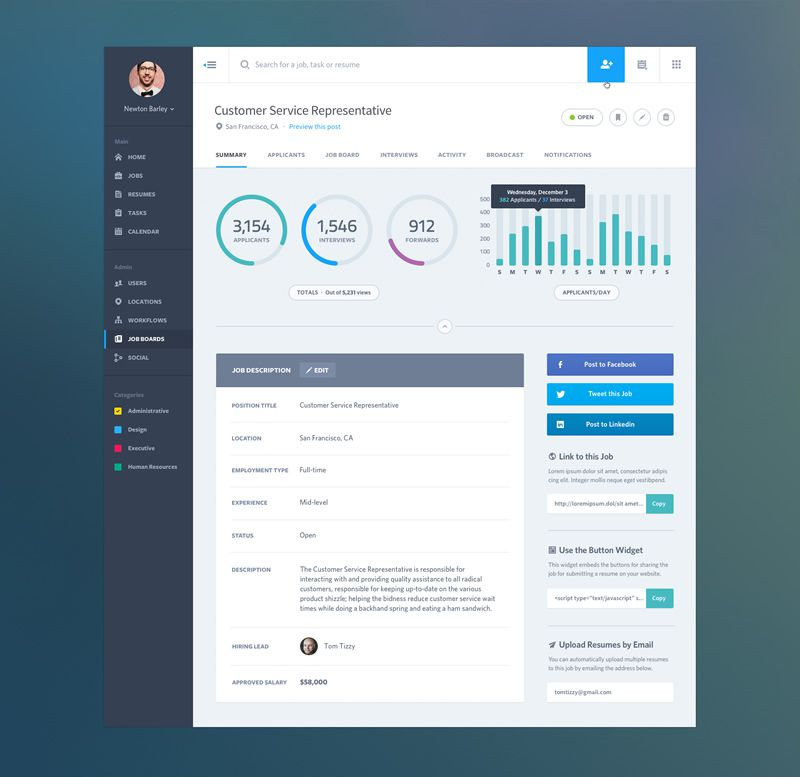Dashboard Web App Product UI: Job Summary