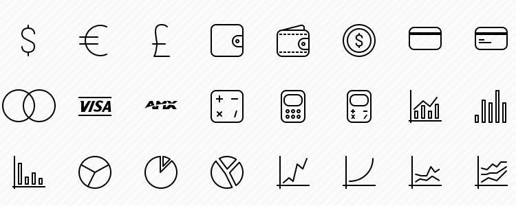 Vector Business Icons for iOS 8, iOS 7 & Android