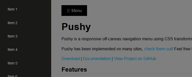 Pushy responsive off-canvas navigation menu using CSS transforms transitions