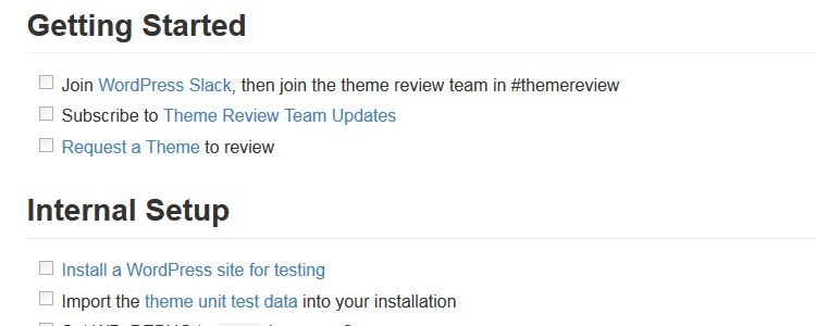 The actionable WordPress Themes Review Checklist on WordPress.org