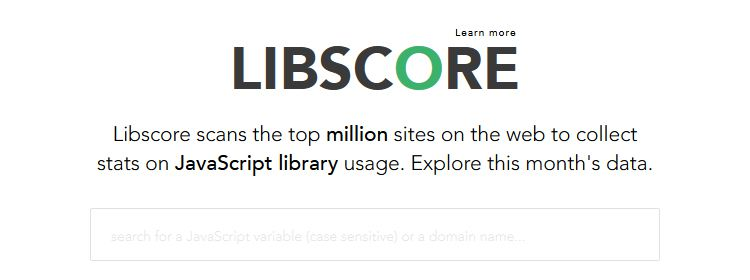 Libscore, an app that scans the top million sites on the web to collect stats on JS library usage
