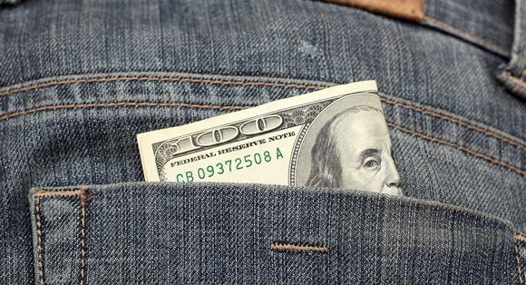 One hundred dollars in the back pocket of your jeans