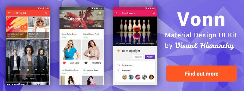 Vonn Mobile Material Design UI Kit