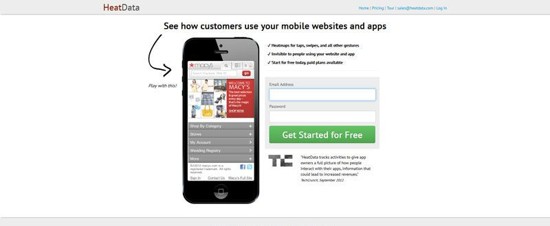 HeatData customers interacting overall app mobile website design